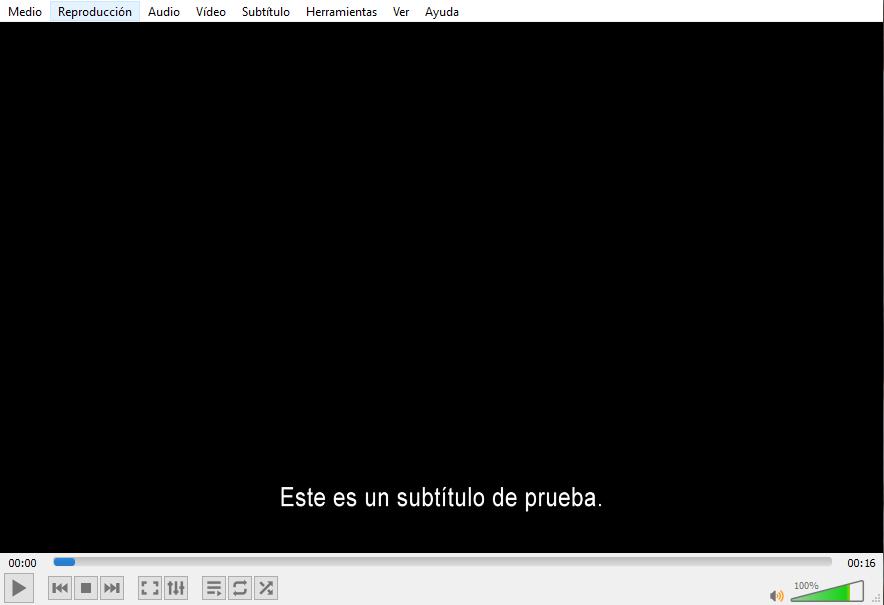 Reproductor VLC con los subtítulos de prueba.