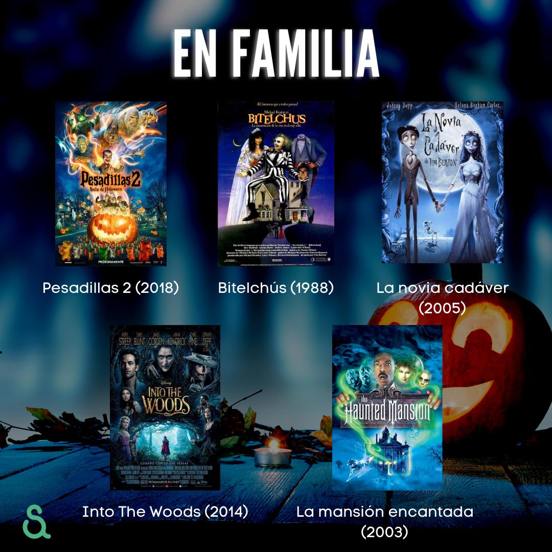 Películas para ver en familia: Pesadillas 2, Bitelchús, La novia cadáver, Into The Woods, La mansión encantada.