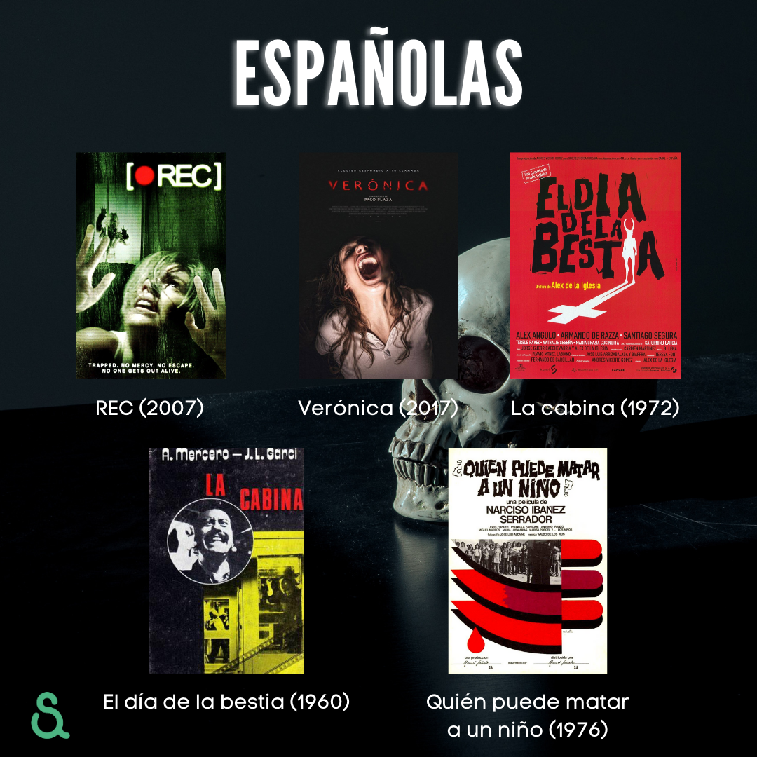 Películas españolas: REC, Verónica, La cabina, El día de la bestia, Quién puede matar a un niño.